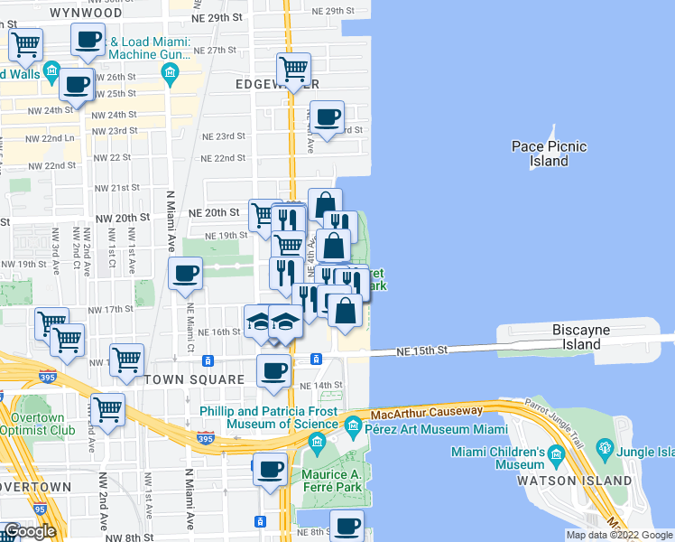 map of restaurants, bars, coffee shops, grocery stores, and more near 1756 North Bayshore Drive in Miami