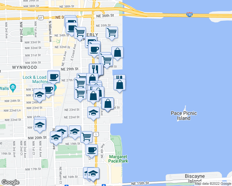 map of restaurants, bars, coffee shops, grocery stores, and more near Northeast 25th Street in Miami