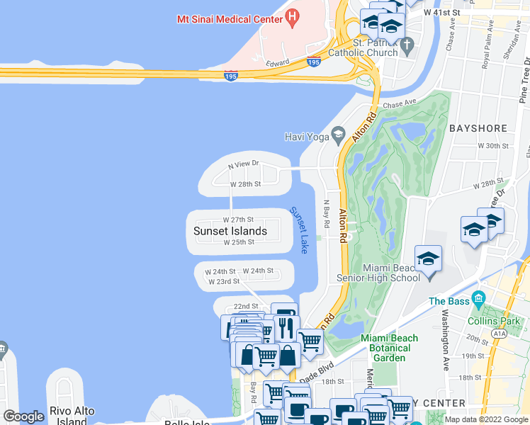 map of restaurants, bars, coffee shops, grocery stores, and more near 1435 West 27th Street in Miami Beach
