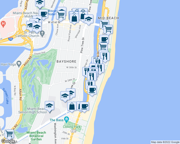 map of restaurants, bars, coffee shops, grocery stores, and more near 2925 Indian Creek Drive in Miami Beach