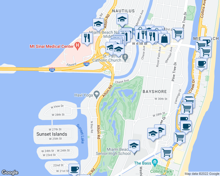 map of restaurants, bars, coffee shops, grocery stores, and more near Alton Road in Miami Beach