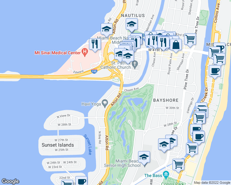map of restaurants, bars, coffee shops, grocery stores, and more near 3131 North Bay Road in Miami Beach
