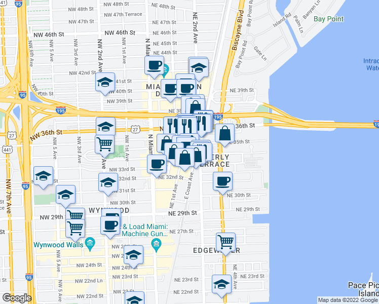map of restaurants, bars, coffee shops, grocery stores, and more near 121 Northeast 34th Street in Miami