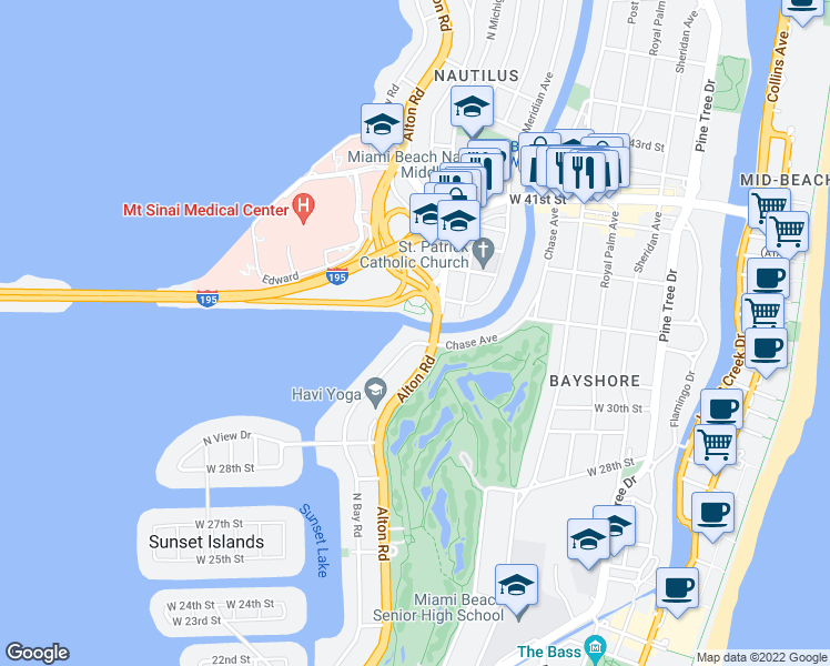 map of restaurants, bars, coffee shops, grocery stores, and more near 3166 North Bay Road in Miami Beach