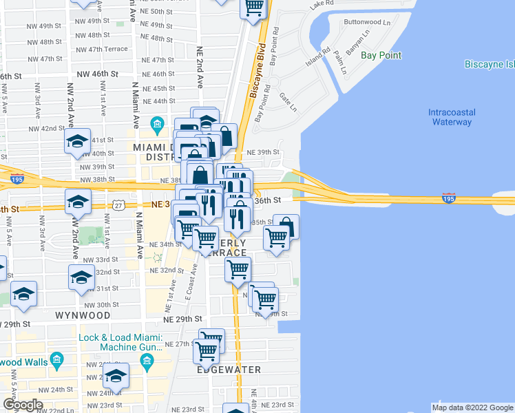 map of restaurants, bars, coffee shops, grocery stores, and more near 402 Northeast 36th Street in Miami