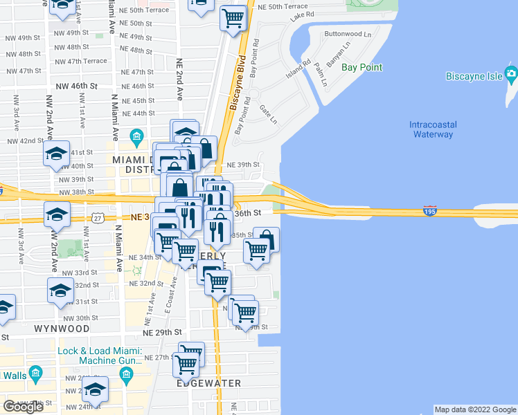 map of restaurants, bars, coffee shops, grocery stores, and more near 601 Northeast 36th Street in Miami