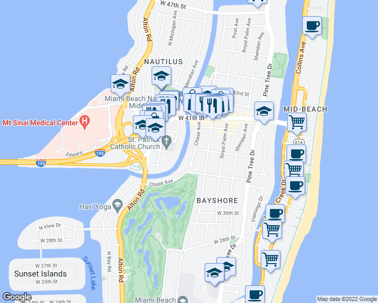 map of restaurants, bars, coffee shops, grocery stores, and more near 3690 Chase Avenue in Miami Beach