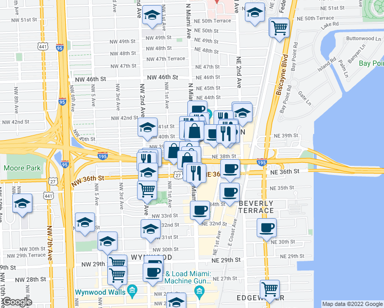 map of restaurants, bars, coffee shops, grocery stores, and more near 3800 North Miami Avenue in Miami