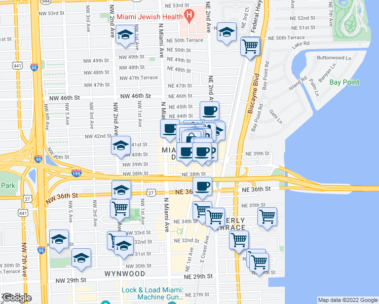 map of restaurants, bars, coffee shops, grocery stores, and more near 114 Northeast 40th Street in Miami