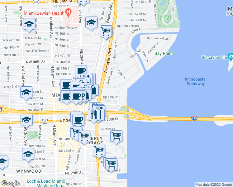 map of restaurants, bars, coffee shops, grocery stores, and more near 531 Northeast 39th Street in Miami