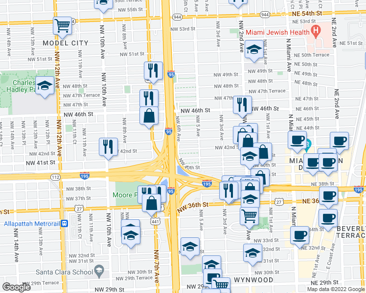 map of restaurants, bars, coffee shops, grocery stores, and more near 569 Northwest 42nd Street in Miami