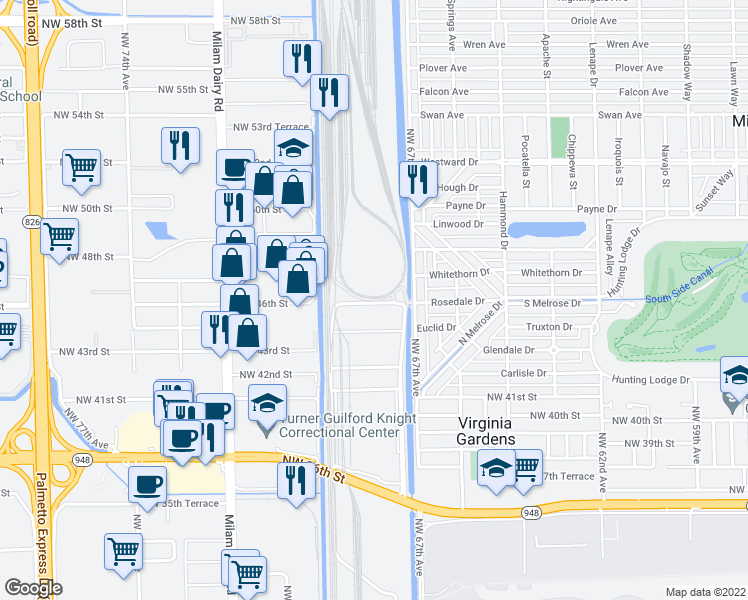 map of restaurants, bars, coffee shops, grocery stores, and more near Northwest Rosedale Drive in Miami