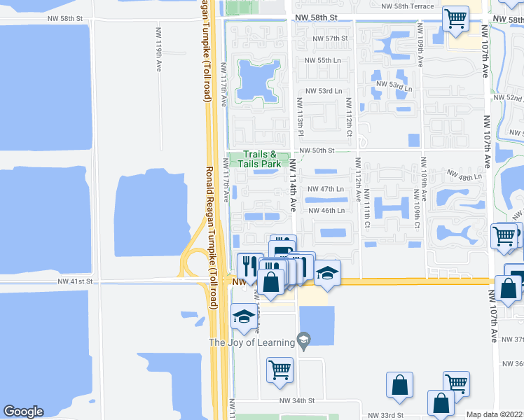 map of restaurants, bars, coffee shops, grocery stores, and more near 4600 Northwest 114th Avenue in Doral