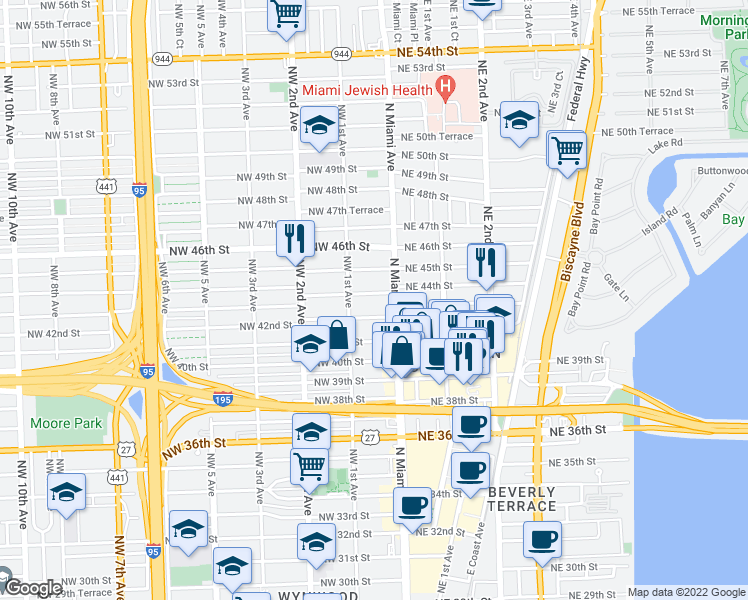 map of restaurants, bars, coffee shops, grocery stores, and more near 44 Northwest 44th Street in Miami