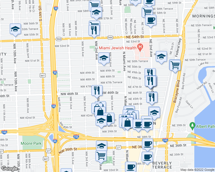 map of restaurants, bars, coffee shops, grocery stores, and more near 127 Northwest 47th Street in Miami