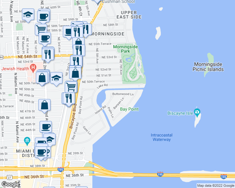 map of restaurants, bars, coffee shops, grocery stores, and more near in Miami