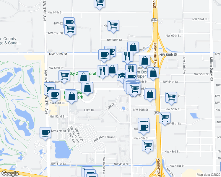 map of restaurants, bars, coffee shops, grocery stores, and more near 8111 Northwest 53rd Street in Doral