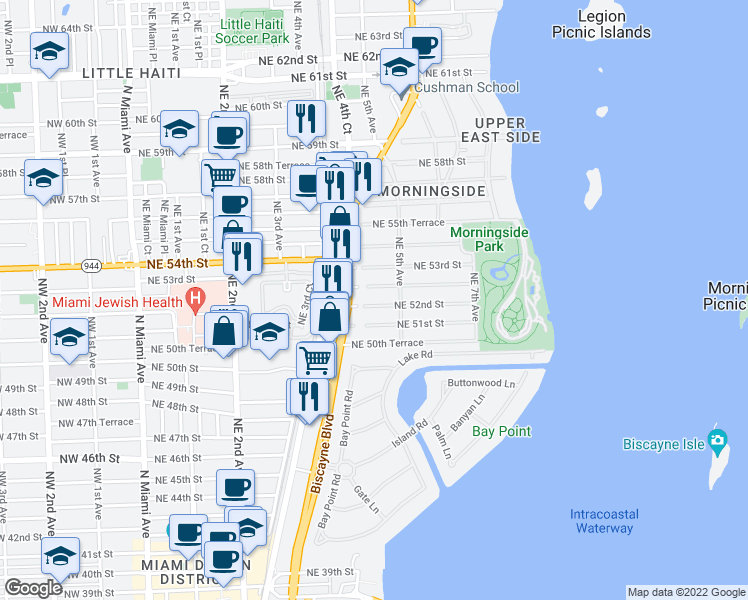 map of restaurants, bars, coffee shops, grocery stores, and more near 431 Northeast 52nd Street in Miami