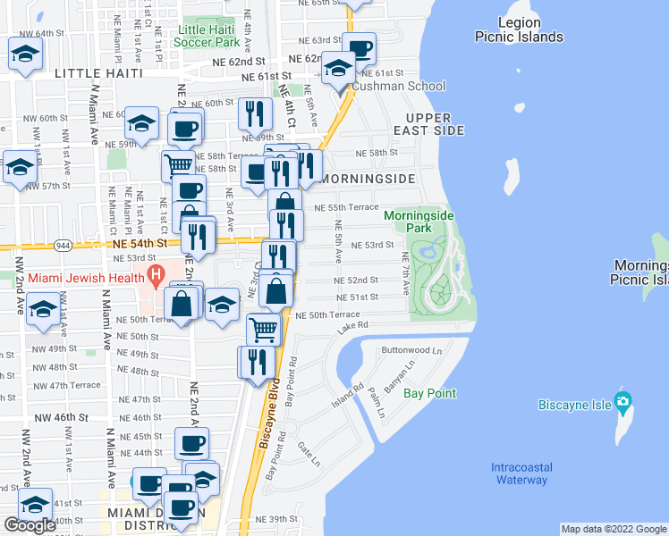 map of restaurants, bars, coffee shops, grocery stores, and more near 470 Northeast 52nd Terrace in Miami