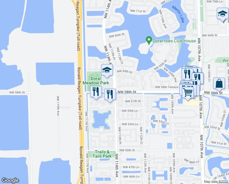 map of restaurants, bars, coffee shops, grocery stores, and more near Northwest 114th Avenue in Miami