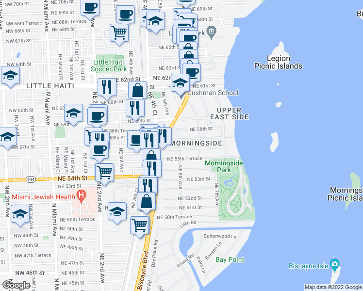 map of restaurants, bars, coffee shops, grocery stores, and more near 5601 Northeast 5th Avenue in Miami