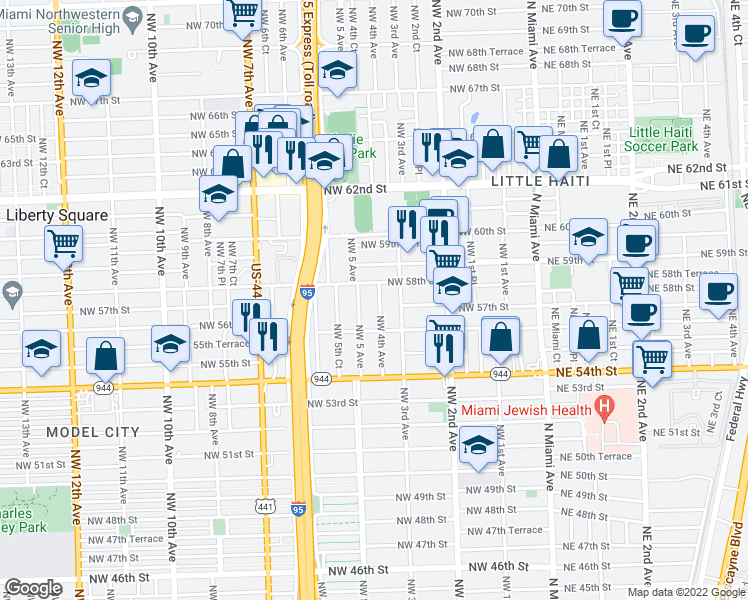 map of restaurants, bars, coffee shops, grocery stores, and more near 5714 Northwest 4th Avenue in Miami