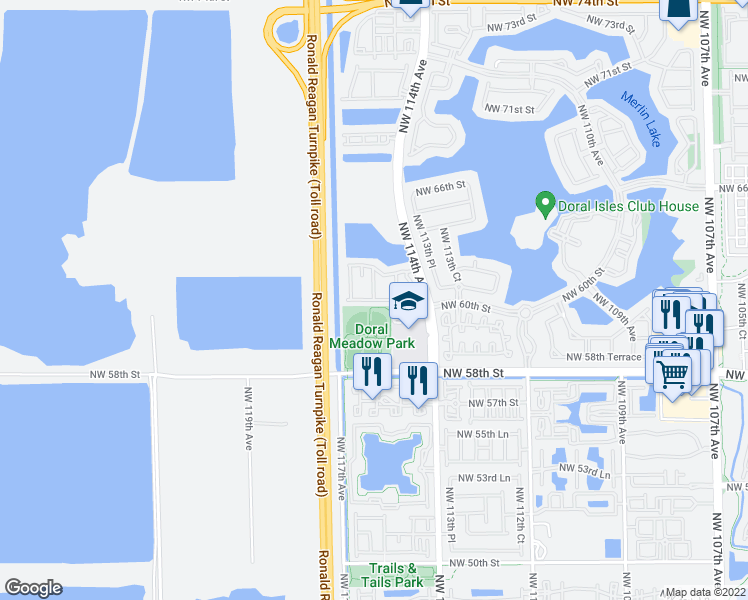 map of restaurants, bars, coffee shops, grocery stores, and more near Northwest 60th Terrace in Miami