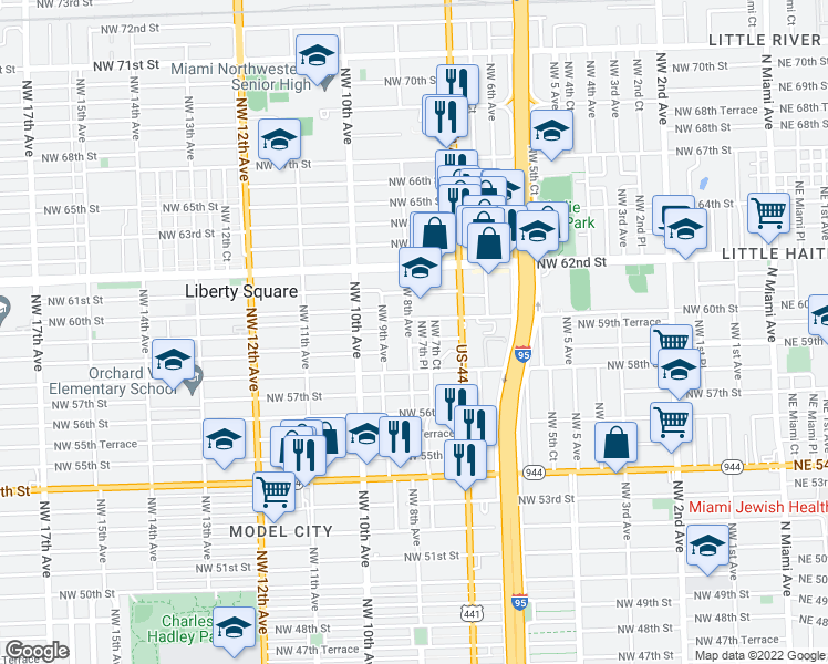 map of restaurants, bars, coffee shops, grocery stores, and more near 5935 Northwest 8th Avenue in Miami