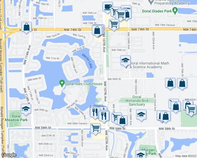 map of restaurants, bars, coffee shops, grocery stores, and more near Northwest 107th Court in Doral