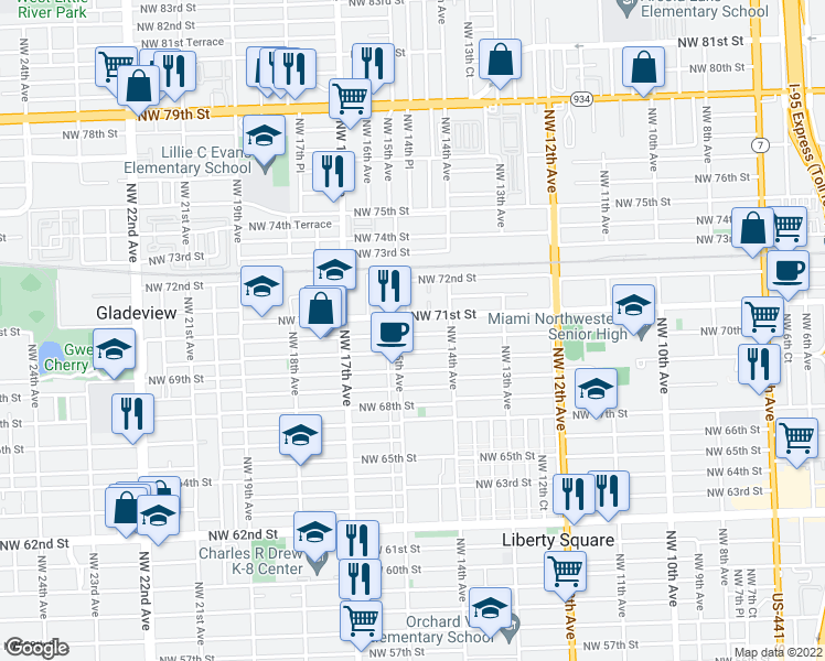 map of restaurants, bars, coffee shops, grocery stores, and more near 1473 Northwest 70th Street in Miami