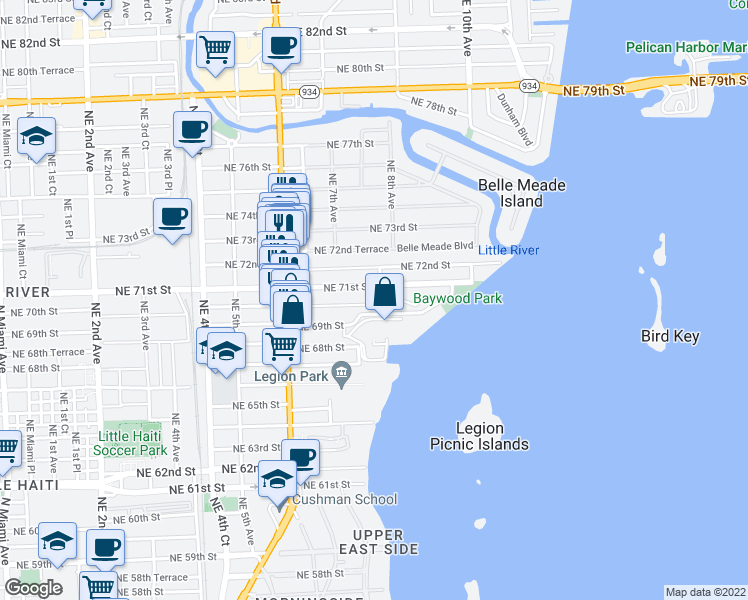 map of restaurants, bars, coffee shops, grocery stores, and more near 795 Northeast 70th Street in Miami