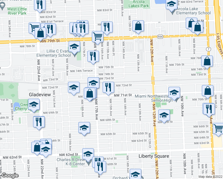 map of restaurants, bars, coffee shops, grocery stores, and more near 7160 Northwest 14th Place in Miami