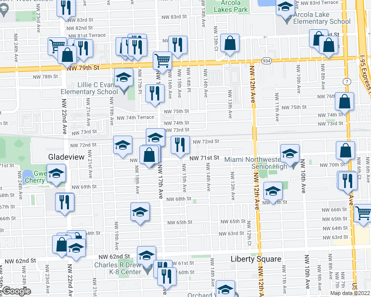 map of restaurants, bars, coffee shops, grocery stores, and more near 7184 Northwest 14th Place in Miami