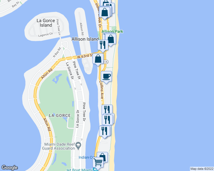 map of restaurants, bars, coffee shops, grocery stores, and more near in Miami Beach