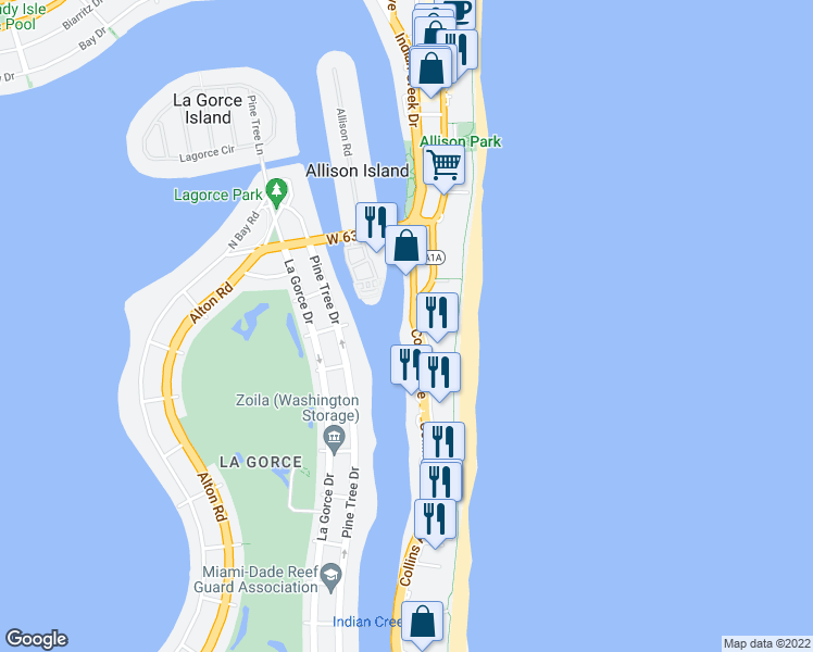 map of restaurants, bars, coffee shops, grocery stores, and more near 5880 Collins Avenue in Miami Beach