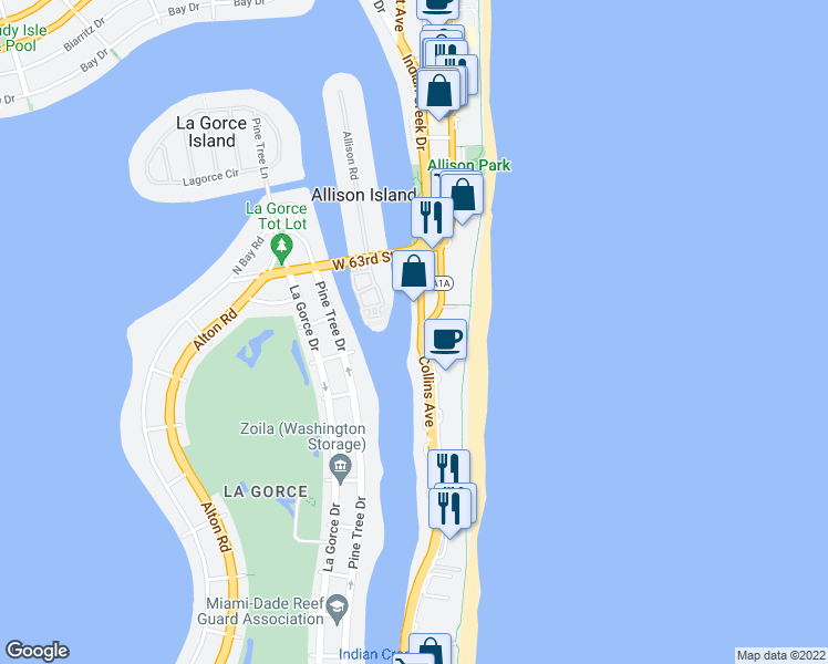 map of restaurants, bars, coffee shops, grocery stores, and more near 5900 Collins Avenue in Miami Beach
