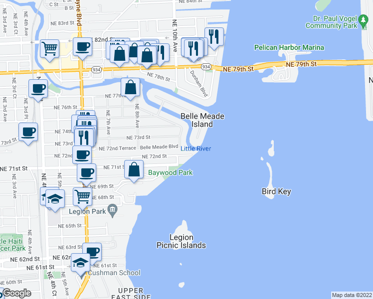 map of restaurants, bars, coffee shops, grocery stores, and more near 7235 Belle Meade Blvd in Miami