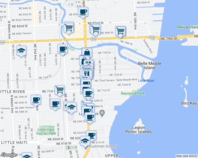 map of restaurants, bars, coffee shops, grocery stores, and more near 7250 Northeast 7th Avenue in Miami