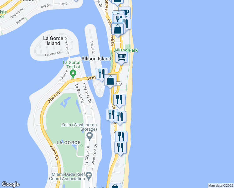 map of restaurants, bars, coffee shops, grocery stores, and more near 5959 Collins Avenue in Miami Beach
