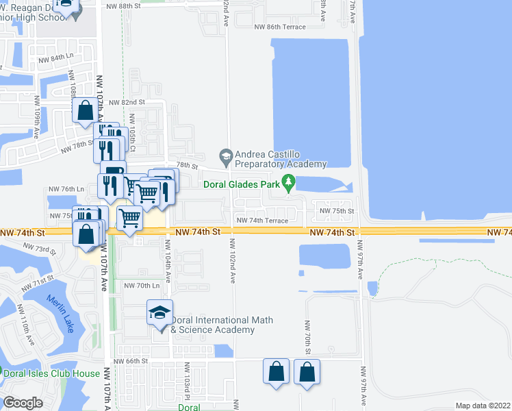 map of restaurants, bars, coffee shops, grocery stores, and more near 10055 Northwest 75th Street in Doral