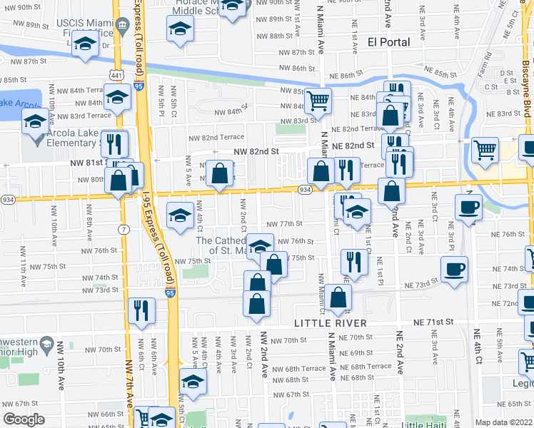 map of restaurants, bars, coffee shops, grocery stores, and more near 7731 Northwest 2nd Avenue in Miami