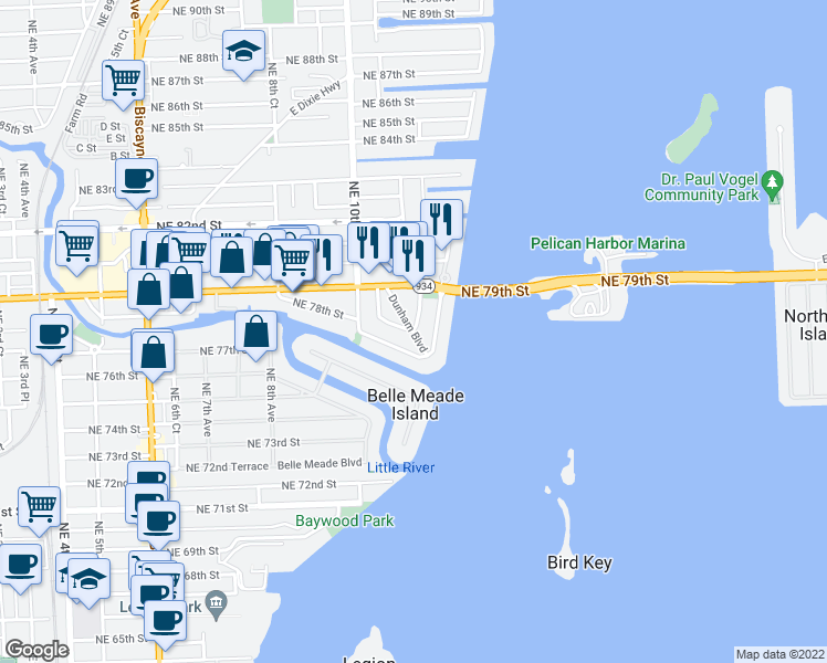 map of restaurants, bars, coffee shops, grocery stores, and more near North Bayshore Drive & Northeast 78th Street Road in Miami