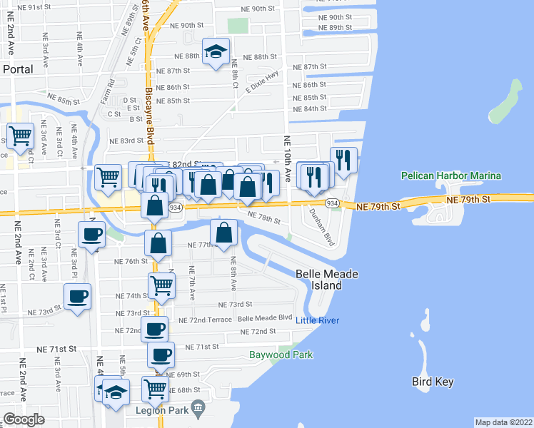 map of restaurants, bars, coffee shops, grocery stores, and more near 929 Northeast 78th Street in Miami