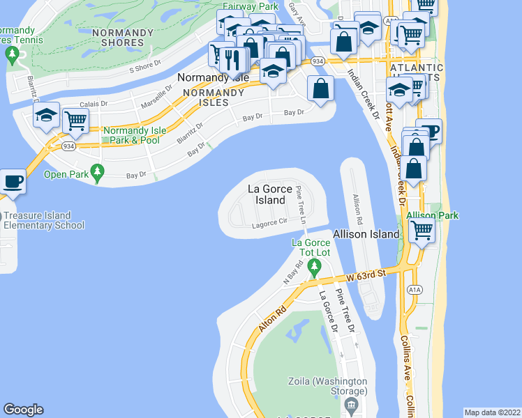 map of restaurants, bars, coffee shops, grocery stores, and more near 6635 Sheffield Lane in Miami Beach