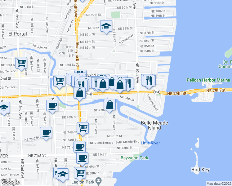 map of restaurants, bars, coffee shops, grocery stores, and more near 4718 Northeast 8th Court in Miami