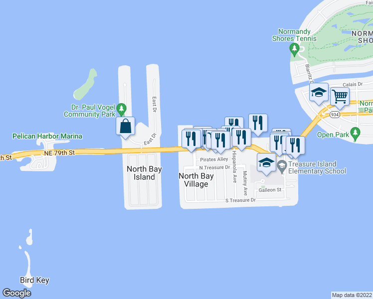 map of restaurants, bars, coffee shops, grocery stores, and more near N Bay Causeway & 79th Street Causeway in North Bay Village