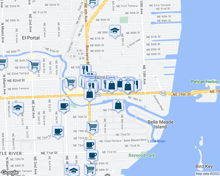 map of restaurants, bars, coffee shops, grocery stores, and more near Northeast 80th Street in Miami
