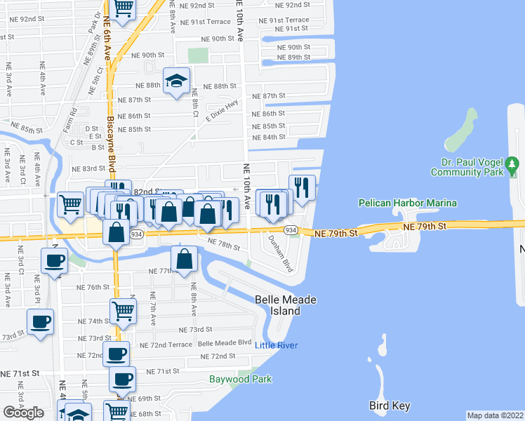 map of restaurants, bars, coffee shops, grocery stores, and more near 1045 Northeast 80th Street in Miami
