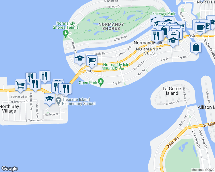 map of restaurants, bars, coffee shops, grocery stores, and more near 1820 Bay Drive in Miami Beach