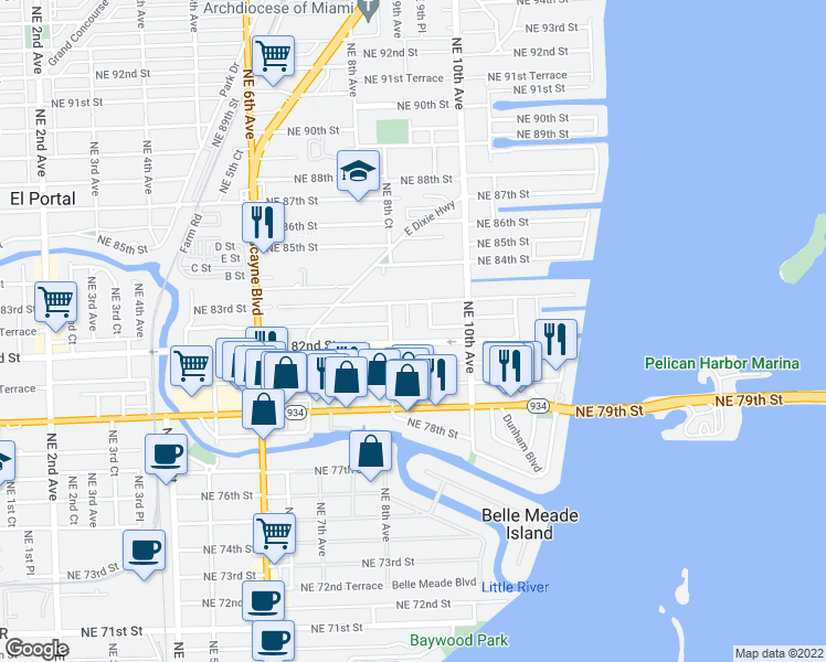 map of restaurants, bars, coffee shops, grocery stores, and more near 8225 Northeast 8th Place in Miami